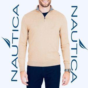 NWT NAUTICA Men's XXL Tan Half Zip Pullover